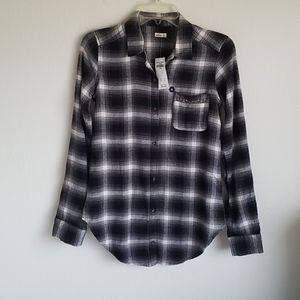 Hollister Oversize White/ Black  Flannel  Shirt